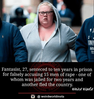 Memes, News, and Weird: UN]  INDi  TR.  Fantasist, 27, senteced to ten years in prison  for falsely accusing 15 men of rape - one of  whom was jailed for two years and  another fled the countrv  Weird World  weirdworldinsta BELIEVE ALL DA WAHMANS   Beycuz Wahman nEvAr Liiiiiiie  Source: https://www.dailymail.co.uk/news/article-6860231/amp/Fantasist-jailed-falsely-accusing-15-men-rape-sexual-assault-appeals-conviction.html?fbclid=IwAR2BW2EaPM2Amd39yioxQK8-8RVfzgIT9w3MbfzLBCPe_a2QYyDrgPXyCZE