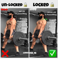"""Bad, Love, and Memes: un-LockeD LOCKED  NO Lift  GOOD Lift  In powerlifting  In Powerlifting  Scapula  Scapula  Protracted  Retracted  P Collapsin  Pigeo  Chest  Chest @fitness_iq💪 . ✅[DEADLIFT LOCKOUT 🔒]❌ . Shoulder Positioning at the top Regardless of deadlift style❗️ . You should be finishing the movement in an erect position with shoulders back and pigeon chest [ t-spine extension ] especially if you're a competitive powerlifter to leave it out the question if it was a good or bad lift. . Avoid """"SOFT SHOULDERS""""! This is typically when your hips are fully locked out [ NOT hyperextended ] but your scapula is protracted, rolling your shoulders forward out in front of you which can cause your chest to collapse and potentially lose balance from the load pulling you forward. . Instead, when locking out the movement make sure to retract your scapula, bringing them shoulders back and finish in an erect- neutral position with """"pigeon chest"""" for a good lift at a meet, but also just an OVERALL stronger and safer finishing execution of movement. . Hope this is helpful to some of you out here. If you're liking the recent content make sure to like, comment, and tag a friend. Love y'all. 💯❤️🙏🏽"""