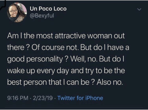 Dank, Iphone, and Memes: Un Poco Loco  LL  @Bexyful  Am I the most attractive woman out  there? Of course not. But do I have a  good personality? Well, no. But do l  wake up every day and try to be the  best person that I can be? Also no.  9:16 PM 2/23/19 Twitter for iPhone Meirl by Tlovelyyy MORE MEMES