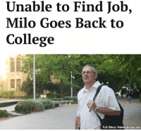 """Memes, 🤖, and Net: Unable to Find Job,  Milo Goes Back to  College  Full Story: thehardtimes-net """"I always wanted to be a gym teacher, and being a public educator seems like a good bet, you know? Those jobs aren't going anywhere."""""""