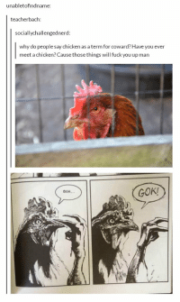 chickens https://t.co/ZvZCbRB7uP: unabletofindname:  teacherbach  sociallychallengedne  rd:  why do people say chicken as a term for coward? Have you ever  meet a chicken? Cause those things will fuck you up man  GOK!  BUH chickens https://t.co/ZvZCbRB7uP