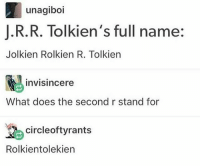 Memes, What Does, and 🤖: unagiboi  I.R.R. Tolkien's full name:  Jolkien Rolkien R. Tolkiern  invisincere  What does the second r stand for  circleoftyrants  Rolkientolekien My feet are gaining in crust