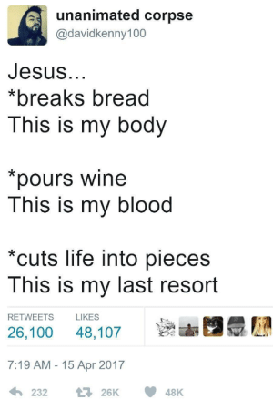 meirl: unanimated corpse  @davidkenny100  Jesus  *breaks bread  This is my body  pours wine  This is my blood  cuts life into pieces  This is my last resort  RETWEETS L  26,100 48,107  7:19 AM - 15 Apr 2017  LIKES meirl