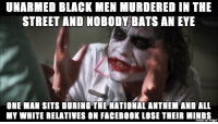 What I've learned from the Colin Kaepernick situation: UNARMED BLACK MEN MURDERED IN THE  STREET AND NOBODY BATS AN EYE  ONE MAN SITS DURING THE NATIONAL ANTHEM AND ALL  MY WHITE RELATIVES ON FACEBOOK LOSE THEIR MINDS What I've learned from the Colin Kaepernick situation