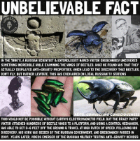 """Repost @connecting_consciousness Remember Grebennikov 🙏🏽 🐞 Viktor spent a lifetime studying insects, bugs, electromagnetism (such as Tesla) and levitation-anti-gravity technology.🔮 🐞 You can research this via the worlds largest search engine and see for yourself the Russian military testing anti-gravity devices and single-manned levitation pods. I have to say this is 2017 and peculiar things are emerging. 🐞 Is electromagnetism and resonances how they put blocks into place at the pyramids of Giza and the Mayan temples? If you guessed yes, you may be correct. 🐞 This has my mind blown similarly to after watching """"There are no forests on earth"""" 🐞 🌐🐝👀: UNBELIEVABLE FACT  NNECT  IN THE 1990'S, A RUSSIAN SCIENTIST &ENTOMOLOGIST NAMED VIKTOR GREBENNIKOVUNCOVERED  SOMETHING INCREDIBLE WHILEEXAMINING THE WINGS OF BEETLES. WHAT HE FOUND WAS THAT THEY  ACTUALLY DISPLAYED ANTI-GRAVITY PROPERTIES. WHICH LEAD TO THE DISCOVERY THAT BEETLES.  DON'T FLy, BUT RATHER LEVITATE. THIS WAS EVEN AIRED ON LOCAL RUSSIAN TV STATIONS  NECTINGCONSCIOUSN  THIS WOULD NOT BE POSSIBLE WITHOUT EARTH'S ELECTROMAGNETIC FIELD, BUT THE CRAZY PART?  VIKTOR ATTACHED HUNDREDS OF BEETLE WINGS TO A PLATFORM, AND USING A CONTROL MECHANISM,  WAS ABLE TO GET 3-G FEET OFF THE GROUND & TRAVEL AT HIGH RATES OF SPEED FOLLOWING HIS  DISCOVERY, HIS WORK WAS SEIZED BY THE RUSSIAN GOVERNMENT, AND GREBENNIKOV PASSED IN  2001. YEARS LATER. VIDEOS EMERGED OF THE RUSSIAN MILITARY TESTING ANTI-GRAVITY DEVICES Repost @connecting_consciousness Remember Grebennikov 🙏🏽 🐞 Viktor spent a lifetime studying insects, bugs, electromagnetism (such as Tesla) and levitation-anti-gravity technology.🔮 🐞 You can research this via the worlds largest search engine and see for yourself the Russian military testing anti-gravity devices and single-manned levitation pods. I have to say this is 2017 and peculiar things are emerging. 🐞 Is electromagnetism and resonances how they put blocks into place at the pyramids of Giza and the Mayan temples? I"""