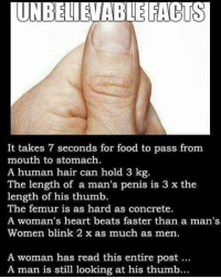 Be Like, Memes, and Penis: UNBELIEVABLE FACTS  It takes 7 seconds for food to pass from  mouth to stomach.  A human hair can hold 3 kg  The length of a man's penis is 3 x the  length of his thumb  The femur is as hard as concrete.  A woman's heart beats faster than a man's  Women blink 2 x as much as men.  A woman has read this entire post  A man is still looking at his thumb... Twitter: BLB247 Snapchat : BELIKEBRO.COM belikebro sarcasm meme Follow @be.like.bro