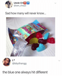 Who agrees? 😂: Uncle CHO P  @iam_chopz  Sad how many will never know  2  @bbythangg  the blue one always hit different Who agrees? 😂