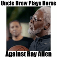 Horses, Memes, and Horse: Uncle Drew Plays Horse  Against Ray Allen Uncle Drew is a savage!😂😧 - Tag @trayfour and @kyrieirving 3 times each for a follow! - Follow @floaters for more!