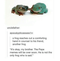 "Comfortable, Friends, and Meme: uncle father:  apocalypticassass1n:  a frog reaches out a comforting  hand in counsel to his friend  another frog  ""It's okay, my brother. The Pepe  memes will be over soon. He is not the  only frog who is sad."" Pepe will never die"