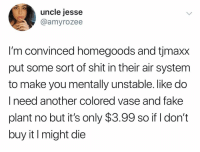 Fake, Funny, and Shit: uncle jesse  @amyrozee  I'm convinced homegoods and tjmaxx  put some sort of shit in their air system  to make you mentally unstable. like do  I need another colored vase and fake  plant no but it's only $3.99 so if I don't  buy it I might die We're onto you snakes