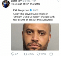 😭😭😭: uncle kev @kFkb 10h  This nigga still in character  XXL Magazine @XXL  Actor who played Suge Knight in  Straight Outta Compton' charged with  four counts of assault trib.al/cDytarB  47 7,205 11.1K 😭😭😭