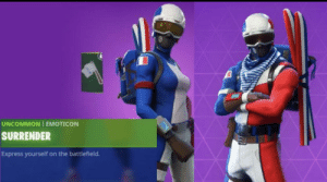 New Fortnite starter pack in France: UNCOMMON EMOTICON  SURRENDER  Express yourself on the battlefield. New Fortnite starter pack in France
