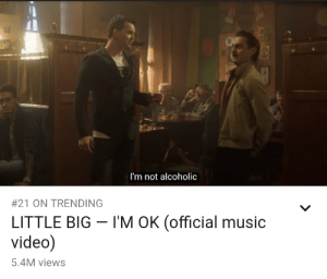 Music, Video, and Alcoholic: UND  I'm not alcoholic  #21 ON TRENDING  I'M OK (official music  LITTLE BIG  video)  5.4M views me_irl