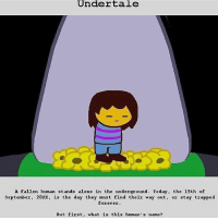 source:? .. .. .. homestuck undertale undertalefrisk: Under tale  A fallen human stands alone in the underground  Today, the 15th of  September  20XX, is the day they must find their way out  or stay trapped  forever.  But first, what is this human's name? source:? .. .. .. homestuck undertale undertalefrisk