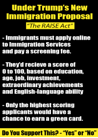 """0 to 100, Anaconda, and Memes: Under Trump's New  mmigration Proposal  """"The RAISE Act""""  Immigrants must apply online  to Immigration Services  and pay a screening fee.  - They'd recieve a score of  0 to 100, based on education,  age, job, investment,  extraordinary achievements  and English-language ability  - Only the highest scoring  applicants would have a  chance to earn a green card.  Do You Support This? - """"Yes"""" or """"No"""" Senator Tom Cotton and Senator David Perdue have co-sponsored """"The RAISE Act"""" and President Trump has endorsed it.  Do you support this?"""