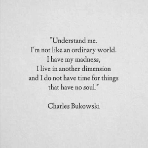 "Live, Time, and World: Understand me.  I'm not like an ordinary world  I have my madness  I live in another dimension  and I do not have time for things  that have no soul.""  Charles Bukowski"