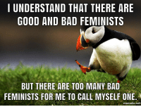 Bad, Good, and Net: | UNDERSTAND THAT THERE ARE  GOOD AND BAD FEMINISTS  BUT THERE ARE TOO MANY BAD  FEMINISTS FOR ME TO CALL MYSELF ONE.  mematic.net