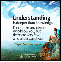 Memes, 🤖, and Genie: Understanding  is deeper than knowledge.  There are many people  who know you, but  there are very few  who understand you.  Type 'Yes' if you agree!  nspirationa  Quotes Genie <3 Understanding is deeper than knowledge.