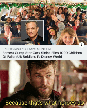 Nice: UNDERSTANDINGCOMPASSION.COM  Forrest Gump Star Gary Sinise Flies 1000 Children  Of Fallen US Soldiers To Disney World  Because that's what heroes do Nice