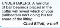 Memes, Bear, and Bears: UNDERTAKERS. A handful  of ball bearings placed in the  coffin will reveal which of your  pallbearers isn't doing his share of the lifting  Chad Elliott, e-mail