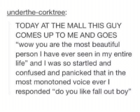 """flirting skills on point https://t.co/IwV9pcwFZL: underthe-corktree:  TODAY AT THE MALL THIS GUY  COMES UP TO ME AND GOES  """"wow you are the most beautiful  person I have ever seen in my entire  life"""" and I was so startled and  confused and panicked that in the  most monotoned voice ever l  responded """"do you like fall out boy""""  1 flirting skills on point https://t.co/IwV9pcwFZL"""