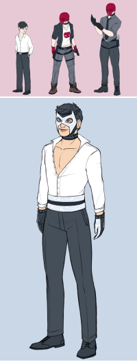 Taken, Target, and Tumblr: undertheglass:  Last but not least in my (trilogy of trilogies?) of character designs, mirrormask!AU - curtesy of dicktofen's brilliant mind - where Dick and Jason are taken in and raised by Black Mask. Was gonna just do three of Jason again, but I couldn't help but draw what I imagine Dick to look like as well! I know Dick's been given the Mirror Mask name, and I kinda picture him just being called Mirror for short or glass face behind his back *cough,cough* *Jason* And then Jason could be called Crimson? (short for crimson mask; either that or just red mask works too) Anyways, hope you like!