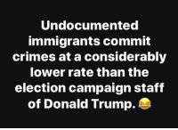 Undocumented: Undocumented  immigrants commit  crimes at a considerably  lower rate than the  election campaign staff  of Donald Trump.