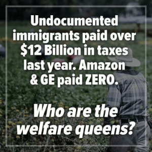 Amazon, Memes, and Taxes: Undocumented  immigrants paid over  $12 Billion in taxes  last year. Amazon  & GE paid ZERO.  Who are the  welfare queens
