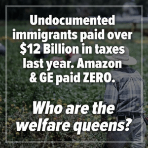 Amazon, Memes, and Taxes: Undocumented  immigrants paid over  $12 Billion in taxes  last year. Amazon  & GE paid ZERO.  Who are the  welfare queens?