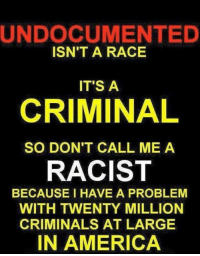 Memes, 🤖, and Criminal: UNDOCUMENTED  ISN'T A RACE  IT'S A  CRIMINAL  SO DON'T CALL ME A  RACIST  BECAUSE I HAVE A PROBLEM  WITH TWENTY MILLION  CRIMINALS AT LARGE  IN AMERICA RE-POST THE TRUTH!