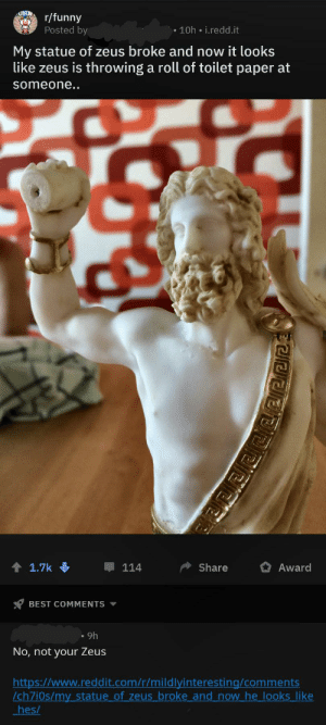 guy claiming his sculpture broke making it look like he was holding a toilet paper roll: UNDr/funny  Posted by  10h i.redd.it  My statue of zeus broke and now it looks  like zeus is throwing a roll of toilet paper at  someone..  1.7k  Share  114  Award  BEST COMMENTS  9h  No, not your Zeus  http:://www.reddit.com/r/mildlyinteresting/comments  /ch7i0s/my statue of zeus broke and now he looks like  hes/  PEEE guy claiming his sculpture broke making it look like he was holding a toilet paper roll