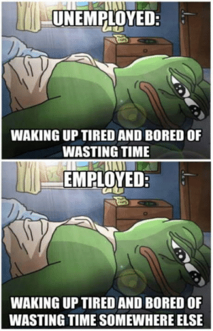 Bored, Time, and Pepe: UNEMPLOYED:  WAKING UP TIRED AND BORED OF  WASTING TIME  EMPLOYED  WAKING UP TIRED AND BORED OF  WASTING TIME SOMEWHERE ELSE You know Pepes right