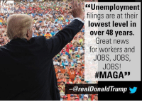 """Moments ago, President @realDonaldTrump tweeted his excitement at a U.S. Department of Labor tweet that read: """"New jobless claims dropped to 210,000 last week, and the 4-week moving average was 220,500. Both figures were the lowest since 1969."""": Unemployment  ilings are at their  lowest level in  over 48 years.  Great news  for workers and  JOBS, JOBS,  JOBS!  #MAGA"""",  NEWS  ー@realDonaldTrump  步 Moments ago, President @realDonaldTrump tweeted his excitement at a U.S. Department of Labor tweet that read: """"New jobless claims dropped to 210,000 last week, and the 4-week moving average was 220,500. Both figures were the lowest since 1969."""""""