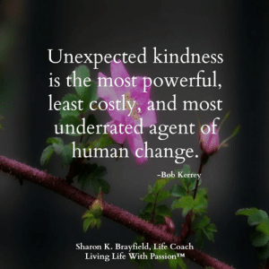 Life, Memes, and Powerful: Unexpected kindness  is the most powerful,  least costly, and most  underrated agent of  human change.  -Bob Kerrey  Sharon K. Brayfield, Life Coach  Living Life With PassionTM Living Life With Passion