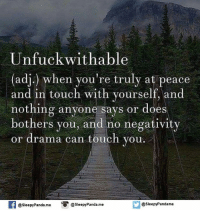 Unfuckable: Unfuck with able  (adj) when you're truly at peace  and in touch with yourself, and  nothing anyone says or does  bothers you, and no negativity  or drama can touch you  f @sleepyPanda me  O @Sleepy Panda.me  @sleepy Pandame