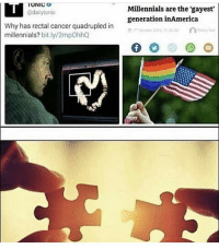 Memes, Millennials, and Cancer: UNIC  @dailytonic  Millennials are the 'gayest'  generation inAmerica  Why has rectal cancer quadrupled in  millennials? bit.ly/2mpOhhQ E N L I G H T E N E D