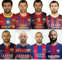 Head, Memes, and Hair: unicef FotlndationoudatomAIRWAYS  atar  oundation y  Qaar OATAR  oundaton  OATARAR OATAR Rakuten  、AIRWAYS: Rakuten  AIRWAYS (マAIRWAYS When you realize Javier Mascherano's hair migrated from his head down to his face.