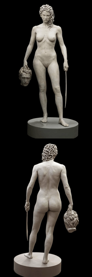 Being Alone, Gif, and Head: unicornempire:  when-in-doubt-sing:  arbitraryimposition:  thebutchriarchy: Medusa with the Head of Perseus, Luciano Garbati, 2008 I adore how she carries his head low, at her side, and not aloft in triumph.  This is not a self-aggrandizing hero lauding her great deed. This is a woman who wanted to be left the fuck alone.   Also look at her body. The double hips. The asymetrical boobs. She's thin, but she's realistic as hell. That's a real woman.  And the look in her eyes. Damn.