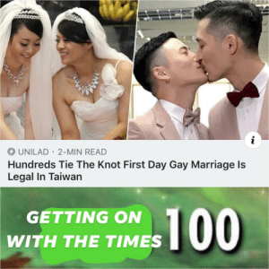 LIVE AND LET PEOPLE BE HAPPY: UNILAD 2-MIN READ  Hundreds Tie The Knot First Day Gay Marriage ls  Legal In Taiwan  GETTING ON  WITH THE TIMES LIVE AND LET PEOPLE BE HAPPY