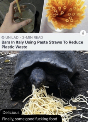 .: UNILAD 3-MIN READ  Bars In Italy Using Pasta Straws To Reduce  Plastic Waste  Delicious  Finally, some good fucking food .