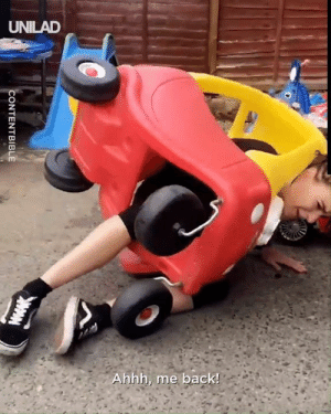 """She thought she could fit inside the toy car... Evidently NOT"" 😂  CONTENTbible: UNILAD  Ahhh, me back!  CONTENTBIBLE ""She thought she could fit inside the toy car... Evidently NOT"" 😂  CONTENTbible"