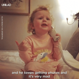 Toddlers have some VERY important things to talk about... 😂☎️: UNILAD  and he keeps getting photos and  it's very mad Toddlers have some VERY important things to talk about... 😂☎️