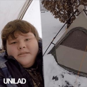 Aspiring YouTuber Nickolas decided to solo-camp during a blizzard in his back garden to mark hitting 70 subscribers. The endearing video grew his channel more than he ever could have imagined...: UNILAD Aspiring YouTuber Nickolas decided to solo-camp during a blizzard in his back garden to mark hitting 70 subscribers. The endearing video grew his channel more than he ever could have imagined...