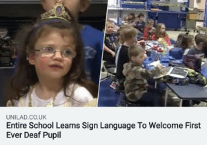 School very cool: UNILAD.CO.UK  Entire School Learns Sign Language To Welcome First  Ever Deaf Pupil School very cool
