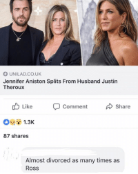 Follow @lolpickupliness if you love to laugh, you won't regret it!🙌🏻😂: UNILAD.CO.UK  Jennifer Aniston Splits From Husband Justin  Theroux  b Like  Comment  Share  1.3K  87 shares  Almost divorced as many times as  Ross Follow @lolpickupliness if you love to laugh, you won't regret it!🙌🏻😂
