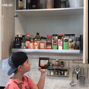 The perfect kitchen shelf for the vertically challenged 😅😂: UNILAD  OADVANCEDWOODWORK The perfect kitchen shelf for the vertically challenged 😅😂