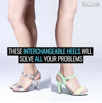 Dank, 🤖, and Feet: UNILAD  THESE  INTERCHANGEABLE HEELS  WILL  SOLVE ALL YOUR PROBLEMS Always ends up in your bare feet on nights out? These interchangeable heels will solve all your problems! 😂👏👠  via Mime et moi