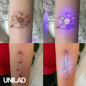 Dank, Tattoos, and Girl: UNILAD This girl creates the most amazing ultra violet tattoos! 😱😍