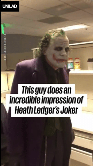 Quite simply, the closest we'll ever come to seeing Heath Ledger's Joker again. This is eerily good... 🙌🙌  CONTENTbible: UNILAD  This guy does an  incredible impression of  Heath Ledger's Joker  CONTENTBIBLE Quite simply, the closest we'll ever come to seeing Heath Ledger's Joker again. This is eerily good... 🙌🙌  CONTENTbible