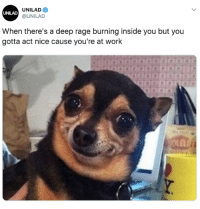 Work, Nice, and Rage: UNILAD  @UNILAD  UNILAD  When there's a deep rage burning inside you but you  gotta act nice cause you're at work